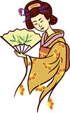 Geisha. Japanese traditional performing artist vector illustration