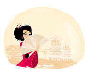 Geisha and abstract Asian Landscape. Illustration Stock Images