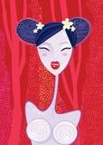 Geisha asiatique d'â de femme sur le fond rouge d'été Photographie stock libre de droits