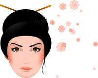 Geisha, asiatisches Mädchengesicht mit Blüten Stockbilder