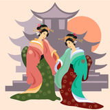 Geisha au Japon, culture japonaise illustration stock