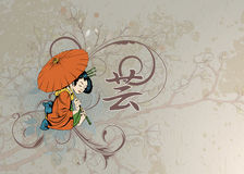 Geisha avec floral Image stock