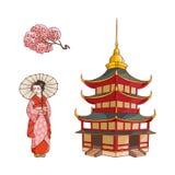 Geisha avec la fan, branche de Sakura, ensemble de vecteur de pagoda Images stock