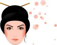 Geisha, Aziatisch meisjesgezicht met bloesems Stock Afbeeldingen