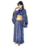 Geisha in Blue Flower Kimono. Young Geisha woman wearing a blue flower patterned silk kimono standing in a thoughtful pose, 3d digitally rendered illustration Royalty Free Stock Images