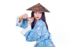 Geisha in blue kimono Stock Photography