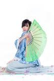 Geisha in blue kimono Stock Photos