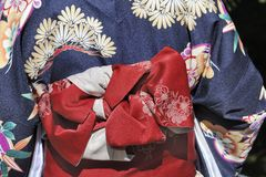 Geisha in blue kimono Stock Image