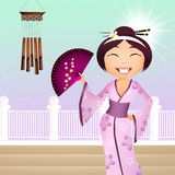 Geisha cartoon Stock Photography