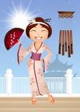 Geisha cartoon Royalty Free Stock Photo