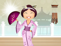 Geisha cartoon Royalty Free Stock Image