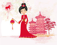 Geisha celebrated Chinese New Year Stock Photo