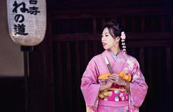 A geisha in the city of Kyoto stock photography