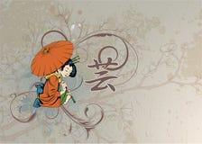 Geisha con floreale Immagine Stock
