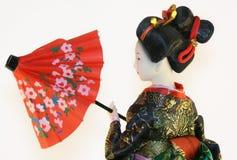 Geisha con l'ombrello rosso Fotografia Stock Libera da Diritti