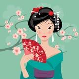 Geisha con un fan Illustrazione di Stock