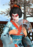 Geisha. 3D digital render of a beautiful geisha wearing traditional clothes sitting in a pavilion, blue sky and cherry blossom background Royalty Free Stock Image