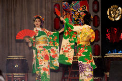 Geisha dance. Moscow, Russia - 4 November, 2016: IV citywide action festival  `Night of the Arts`. Theatrical dance performance in the Japanese style in DK Stock Photo