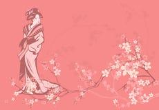 Geisha de la primavera Imagenes de archivo