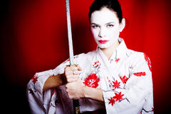 Geisha del guerriero immagine stock