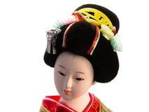 Geisha doll portrait. Over white background Royalty Free Stock Image