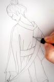 Geisha drawing Royalty Free Stock Photos