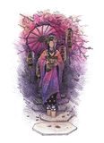 Geisha drawn with pencil. Graphic asian girl in traditional clothes walking on the stone path among cherry branches, lanterns and dark background. Translation of Stock Image