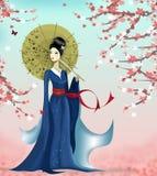 Geisha e farfalla illustrazione di stock