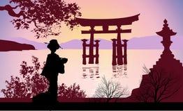 Geisha ed il monte Fuji con gli alberi illustrazione vettoriale