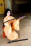 Geisha en kimono Fotos de archivo