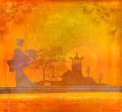 Geisha en la puesta del sol libre illustration