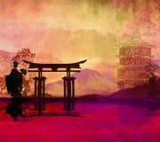 Geisha en la puesta del sol Fotografía de archivo