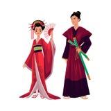 Geisha et samouraïs japonais dans le kimono traditionnel, symboles du Japon Image stock
