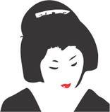 Geisha Face 05. Vector drawing of a Geisha stock illustration