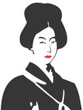 Geisha Face 08. Vector drawing of a Geisha Royalty Free Stock Photo