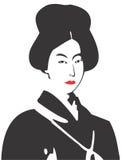 Geisha Face 08. Vector drawing of a Geisha stock illustration