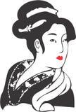 Geisha Face 11. Vector drawing of a Geisha stock illustration