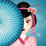 Geisha face with fan Stock Photo