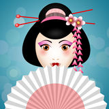 Geisha face with fan Royalty Free Stock Images