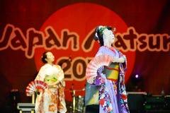 Geisha fan dancing Royalty Free Stock Photos