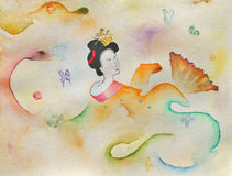 Geisha with a Fan. Hand-painted Watercolor Woman in a Kimono Dancing with a fan royalty free stock photos