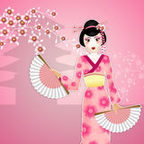 Geisha with fan Royalty Free Stock Image