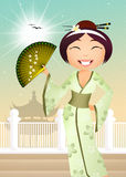 Geisha with fan Royalty Free Stock Images