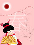Geisha with a fan on spring background Stock Image