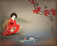 Geisha feeding Koi Stock Photo