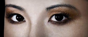 Geisha Gaze. Close up of a beautiful Asian woman's eyes Royalty Free Stock Photography