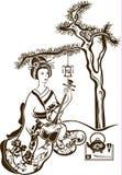 Geisha giapponese tradizionale con lo shamisen Immagine Stock
