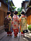 Geisha @ Gion, Kyoto, Japan. 3 Geisha in Gion, heading toward the restaurant to entertain their clients with traditional Japanese dance. Taken on the 12/09/2015 Royalty Free Stock Image