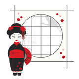 Geisha girl with fan. Vector illustration of a geisha girl with fan Stock Photo