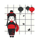 Geisha girl with fan. Vector illustration of a geisha girl with fan Royalty Free Stock Image